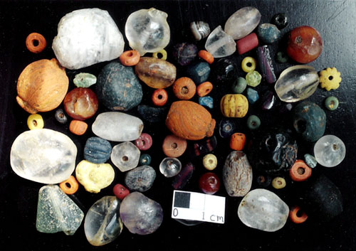 Various types of beads found at several archaeological sites in Sri Lanka