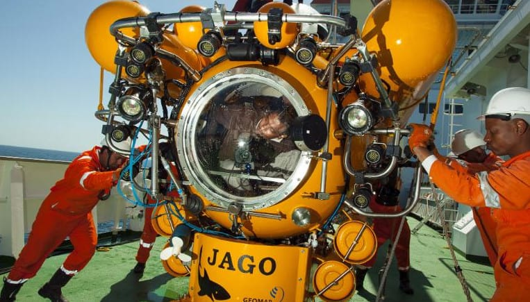 Two-person submarine used to examine the Geology of the seabed